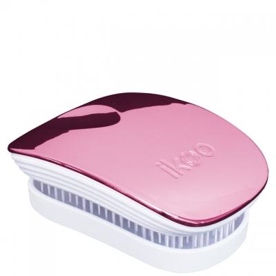 Расческа-детанглер ikoo metallic white «Розовый металлик» — компактная для сумочки