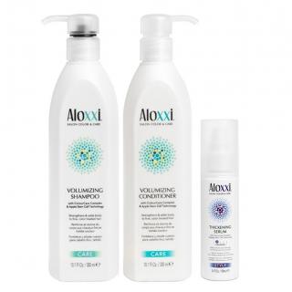 Комплект Aloxxi Volumizing «Объем и утолщение»: шампунь, кондиционер и сыворотка