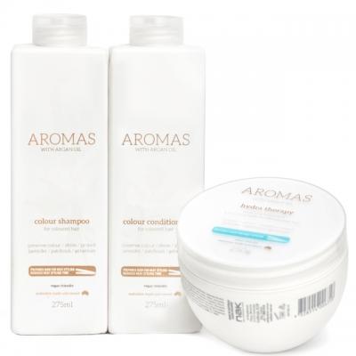 Комплект Aromas Trio «Увлажнение окрашенных волос»: шампунь, кондиционер и маска