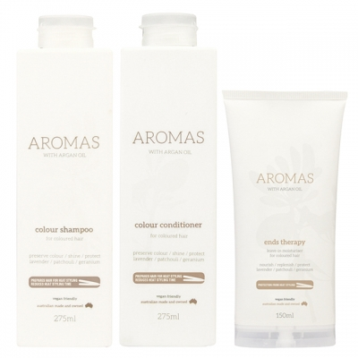 Комплект Aromas Trio «Увлажнение окрашенных волос»: шампунь, кондиционер и крем