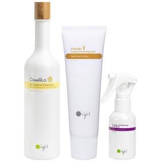 Комплект O'right Trio против зажирнения волос: шампунь, освежающий спрей и скраб