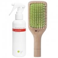 Комплект O'right для разглаживания волос: массажная расческа из бука и спрей