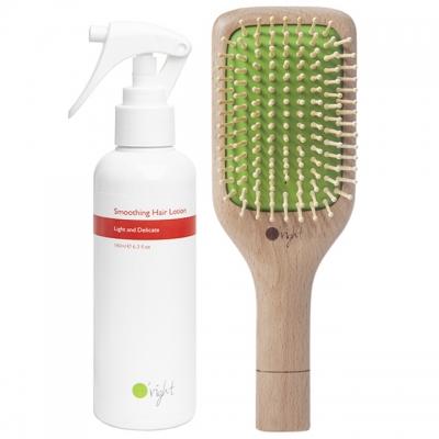 Комплект O'right Duo для разглаживания волос: массажная расческа и спрей