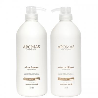 Комплект Aromas Duo «Увлажнение окрашенных волос XXL»: шампунь и кондиционер, 1000 мл