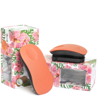 Комплект ikoo duo: две расчески «Оранжевый цветок» для дома и сумочки
