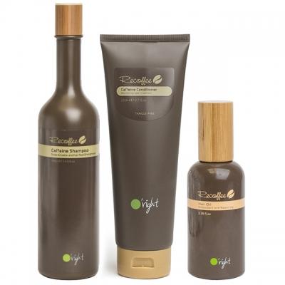 Комплект для укрепления волос O'right Trio «Кофеин»: шампунь, кондиционер и масло