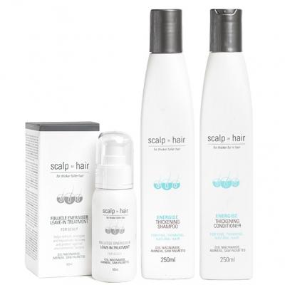 Комплект против выпадения Scalp to Hair Trio для натуральных и мужских волос
