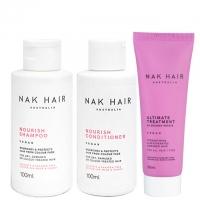 Дорожный комплект NAK Travel «Питание»: шампунь, кондиционер и маска