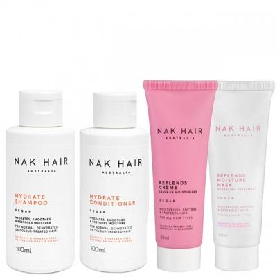 Мини-комплект NAK «Увлажнение и против пушистости»: шампунь, кондиционер, крем и маска