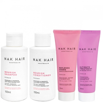 Мини-комплект NAK «Питание и против пушистости»: шампунь, кондиционер, крем и маска