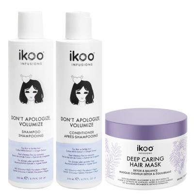Комплект ikoo Trio «Объем»: шампунь, кондиционер и маска
