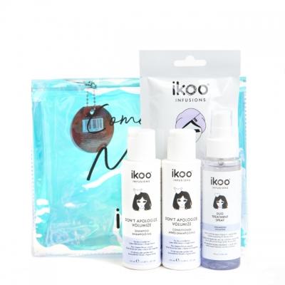 Мини-набор для объема ikoo «Полетели со мной»: шампунь, кондиционер, спрей и маска