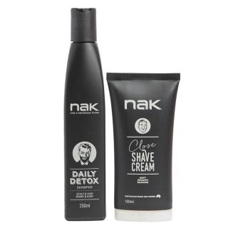 Комплект для мужчин NAK Duo: шампунь и крем для бритья