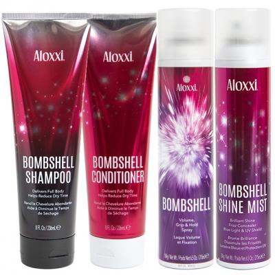 Комплект «Взрывной объем» Aloxxi: шампунь, кондиционер, термозащита и спрей-объем
