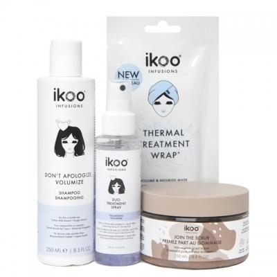 Комплект для СПА-процедуры ikoo «Верни объем»: шампунь, скраб, маска и спрей