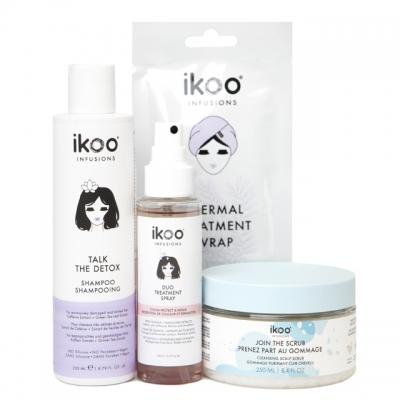 Комплект для СПА-процедуры ikoo «Детокс и баланс»: шампунь, скраб, маска и спрей