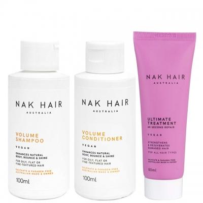 Мини-комплект NAK Trio Travel «Объем и восстановление»: шампунь, кондиционер и маска