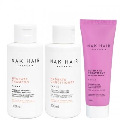 Мини-комплект NAK Trio Travel: «Увлажнение и восстановление»: шампунь, кондиционер и маска