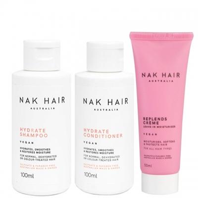 Мини-комплект NAK Trio Travel «Увлажнение сухих волос и здоровые кончики»: шампунь, кондиционер и крем