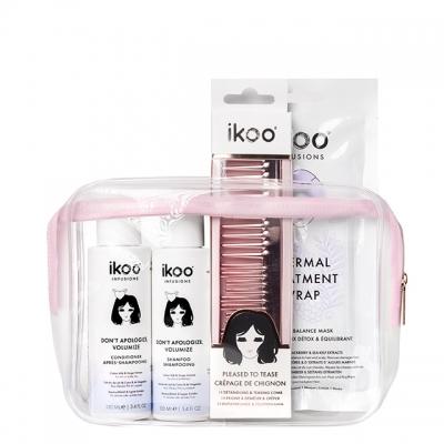 Мини-набор для объема ikoo Pink: шампунь, кондиционер, маска и расческа