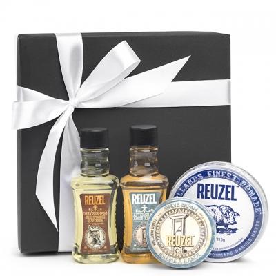 Подарочный набор Reuzel: шампунь, глина для укладки, крем и лосьон для бритья