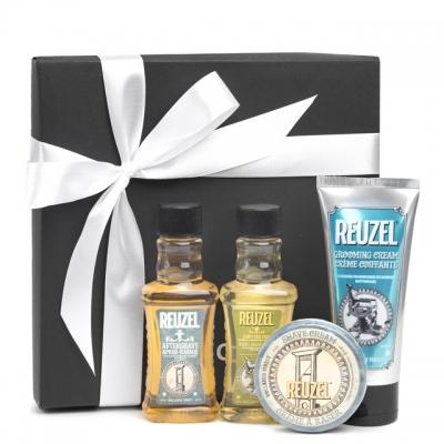 Подарочный набор Reuzel: шампунь, крем для укладки, лосьон и крем для бритья