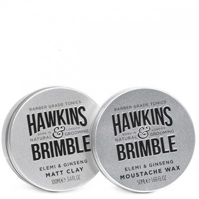 Комплект Hawkins & Brimble Duo: воск для усов и матовая паста для волос