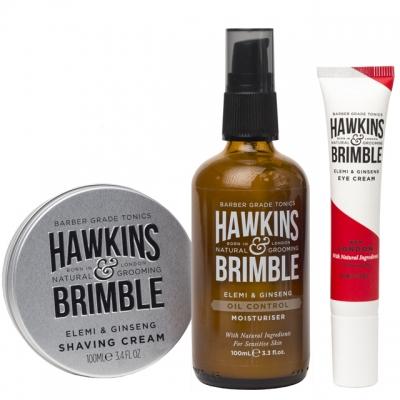 Комплект Hawkins & Brimble Trio: увлажняющий крем, крем для бритья и крем для глаз