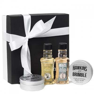 Подарочный набор Reuzel/Hawkins & Brimble: шампунь, матовая паста, крем и лосьон для бритья