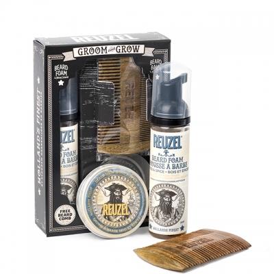 Набор Reuzel Groom and Grow Box: бальзам, пена и расческа для бороды