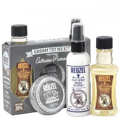 Набор Reuzel Extreme Hold Try Me: шампунь, матовый спрей и помада экстрасильной фиксации