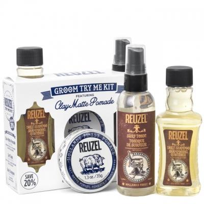 Набор Reuzel Clay Matte Try Me: шампунь, спрей и матовая глина сильной фиксации