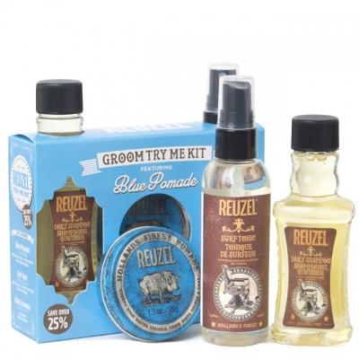 Набор Reuzel Blue Try Me: шампунь, спрей и помада сильной фиксации