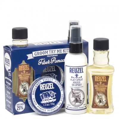 Набор Reuzel Fiber Try Me: шампунь, матовый спрей и помада сильной фиксации