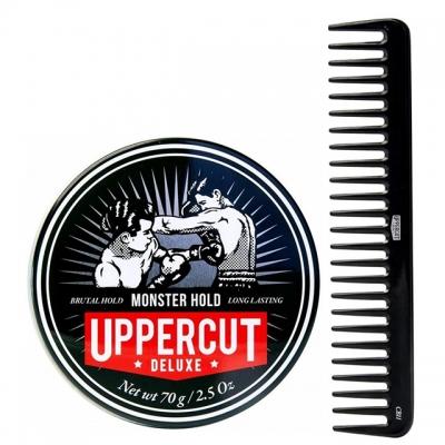 Комплект для укладки волос Uppercut Deluxe: помада экстрасильной фиксации и расческа