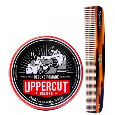 Комплект для укладки волос Uppercut Deluxe: помада сильной фиксации и расческа