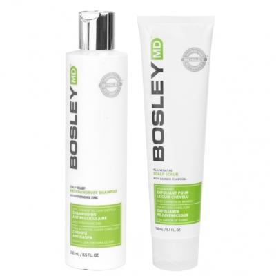 Комплект Bosley MD против перхоти и выпадения волос: шампунь и скраб