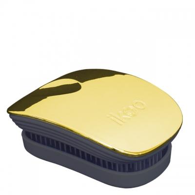Расческа-детанглер ikoo metallic black «Золотистый металлик» — компактная для сумочки