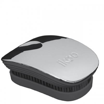 Расческа-детанглер ikoo metallic black «Серый металлик» — компактная для сумочки
