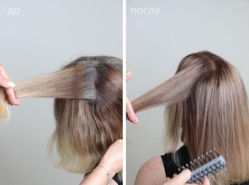 Волосы до окрашивания и после