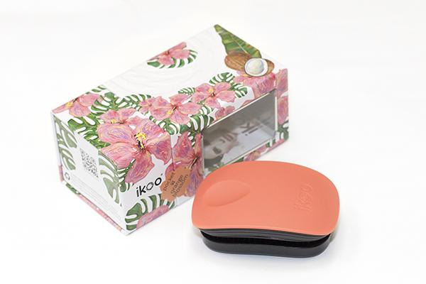 Компактная расческа ikoo pocket paradise black «Оранжевый цветок»